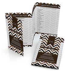 Chevron Brown Fabulous 5 - Personalized Bridal Shower Games