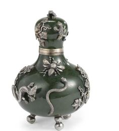 An Edwardian Silver-Mounted and Nephrite Perfume Bottle, Frank Hyams Ltd, London 1905 Sothebys, Property from the Collections of Carl DeSantis, New York, Nov 04