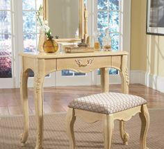 bedroom vanity sets 2PC Metal Vanity Table Set With Mirror Shelves ...