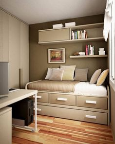 Small Bedroom Design for Adult. Small Bedroom Design for Adult. so Your Bedroom S Not Much Bigger Than Your Bed Here S How Guest Room Office, Small Room Bedroom, Bedroom Interior, Small Bedroom Decor, Tiny Bedroom, Bedroom Diy, Home Decor, House Interior, Remodel Bedroom