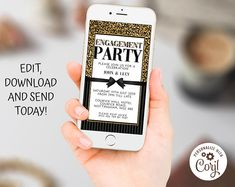 Editable Invitations Birthday Anniversaries by CelebratelyInvites Anniversary Party Invitations, Engagement Party Invitations, Anniversary Parties, Invites, Electronic Invitations, Digital Invitations, Invitation Ideas, Iphone, Card Ideas