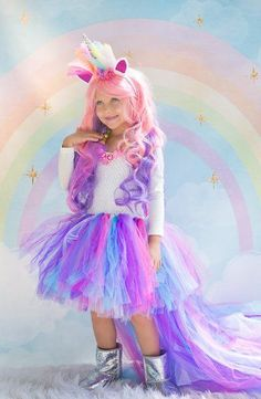 Your little princess will never want to take this magical costume off. Perfect for Unicorn Birthdays, Portraits and Halloween! This Rainbow Unicorn Tutu Dress is So FULL with a beautiful Long trailing Kids Costumes Girls, Halloween Costumes For Girls, Halloween Kids, Little Girl Costumes, Unicorn Kids, Rainbow Unicorn, Unicorn Halloween Costume, Unicorn Costume For Kids, Princess Tutu Dresses