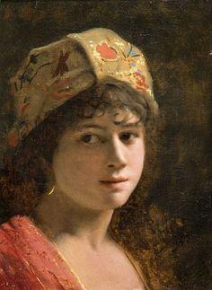 Theodore Jacques Ralli (Greek, , A Greek beauty Name Paintings, Old Paintings, Oriental, Greek Beauty, Greek Art, Impressionist Paintings, Photo Projects, Portrait Art, Portrait Paintings