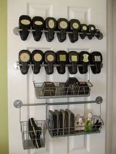 Scraproom: Punch Storage rails & baskets, best way to see what you have and locate it easily.