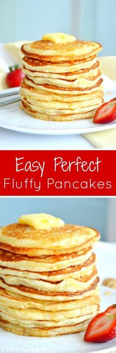 Easy Fluffy American Pancake Back to basics today, with the easiest pancakes recipe ever. With only 6 ingredients and 2 minutes preparation, you get the perfect fluffy American pancakes for breakfast! Pancakes Easy, Breakfast Pancakes, Pancakes And Waffles, Breakfast Recipes, Pancake Recipes, Breakfast Burritos, Recipe For American Pancakes, Recipe For Fluffy Pancakes, Breakfast