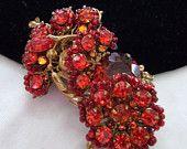 ON SALE MIRIAM Haskell Pin Brooch Vintage 1950s Flower Orange Red Glass Bead Rhinestone Cocktail Fashion