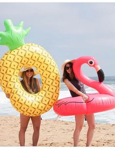 So many fun pool floats like the pineapple and pink flamingo! Find the whole summer collection at AlwaysFits.com.