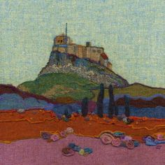 """Lindisfarne Castle""  Needle felted Harris Tweed painting  by textile artist Jane Jackson. Image available as a greetings card & giclee print in 2 sizes from www.brightseedtextiles.com. All with free UK postage & packing."