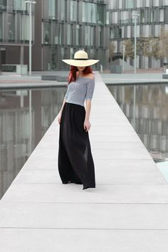 Off shoulder top, maxi skirt and summer hat