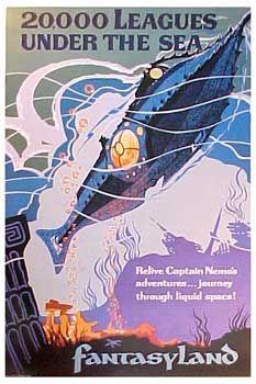 Leagues Under the Sea - Walt Disney World - Magic Kingdom - Fantasyland Vintage Disney Posters, Vintage Disneyland, Walt Disney World Rides, Disney Parks, Leagues Under The Sea, Submarines, Retro Futurism, Women's History, British History