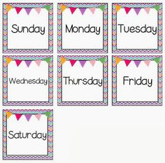 Seven of the Ten Days of Giveaways: {FREEBIE} Calendar Pocket Chart Days of the Week Headers Classroom Displays, Classroom Organization, Classroom Decor, Classroom Labels, Classroom Calendar, School Calendar, Beginning Of School, New School Year, Preschool Printables