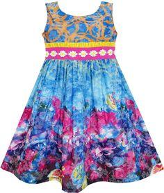 Sunny Fashion Robe Fille Brodé Ceinture Épanouissement Fleur Peinture Style Bleu