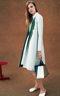 Pale green contrast-lapel coat by Trademark