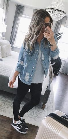 #fall #outfits women's blue button-up denim jacket