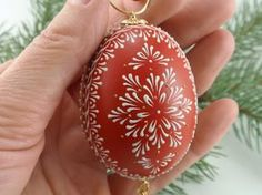 Egg Pysanka Ornament in Red, Hand Painted Chicken Egg, Wax Embossed Egg