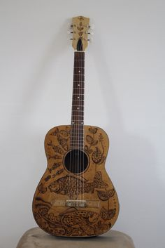 "Painted guitar by Aspasija T. P. ""Lake Ohrid"""