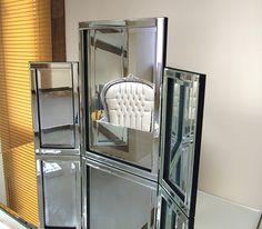 tri fold free standing vanity table mirror | Venetian Glass Tri-Fold Dresser Mirror.