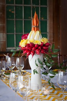 Vegetable centerpiece from Lola Event Floral and Design.