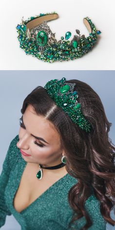 Crystal green tiara Emerald gold crown Bridal Baroque headband Jeweled headband for woman Gift for her Beach Wedding boho Dolce tiara crown - Elegant Dolce Gabbana headband Bridal Crown, Bridal Tiara, Bridal Jewelry, Blue Bridal Shoes, Jeweled Headband, Crystal Headband, Headbands For Women, Tiaras And Crowns, Wedding Hair Accessories