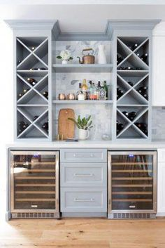 65 Best and Cool Home Bar Design Confused to make a bar room? On the topic of design for our favorite home is to discuss the design of the bar room that will be in our home. Wet Bar Designs, Home Bar Designs, Mini Bars, Blue Kitchen Cabinets, Wine Cabinets, Bar In Kitchen, Kitchen Decor, Wet Bar Cabinets, Gray Cabinets