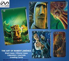Greeting Cards, iPhone Cover, Calendars and more!  https://www.walkingdots.com/robert-jimenez #tiki #apes #monkeys #fez #mermaids