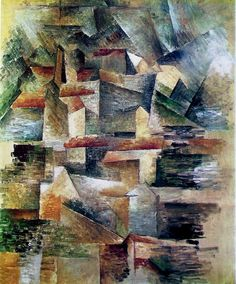 Georges Braque - The Rio-Tinto Factories at L'Estaque, This is another piece was part of Cubism, the movement which influenced De Stijl. Alberto Giacometti, Pablo Picasso, Georges Braque Cubism, Synthetic Cubism, Georges Pompidou, Pompidou Paris, Art Français, Cubism Art, Cleveland Museum Of Art