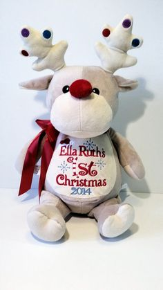 Personalized Christmas Stuffed Animals by SewbizEmbroiderytoo