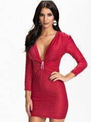 Ladylike V Neck  Pure Bodycon-dress
