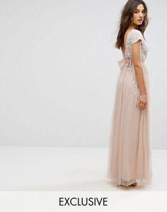 Maya Embellished Cap Sleeve Maxi Dress With Bow Back