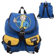 Officially Licensed Bethesda Product Authentic Fallout Merchandise Easy Top Loader Design Video Game Theme Fallout Vault Boy Top Loader Knapsack with adjustable straps.Design features classic Thumbs Up logo on a Blue & Yellow Knapsack Backpack. Fallout Logo, Fallout 4 Vault Boy, Fallout 4 Vaults, Fallout Props, Retro Logos, Boy Costumes, Aquaman, Blue Bags, Backpack Bags