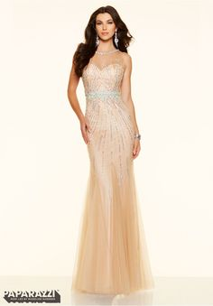 Beaded Lace Embroidered Swiss Dot Net A-line Prom Dress Mori Lee ...