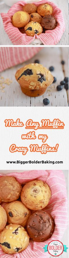 Crazy Muffins: One Easy Muffin Recipe with Endless Flavor Variations! - Gemma's Bigger Bolder Baking One Muffin Recipe, Simple Muffin Recipe, Muffin Recipes, Brunch Recipes, Baking Recipes, Breakfast Recipes, Yummy Things To Bake, Cupcake Cream, Bigger Bolder Baking
