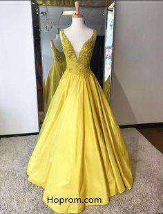 A Line Yellow Prom Dresses 2018 Deep V Neckline Beaded Evening Dresses
