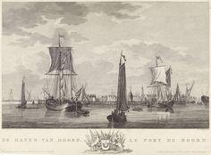 Mathias de Sallieth | Haven van Hoorn, Mathias de Sallieth, Pieter Yver, Johannes Smit & Zoon, 1781 - 1787 | Gezicht op de haven van Hoorn met verschillende zeilschepen. In de marge het wapen van de stad. Prent rechtsboven genummerd: 10.