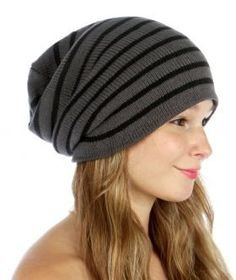 dda67975d98 Amazon.com  Soft Slouchy Long Beanie Hat (Gray with Stripe)  Beauty
