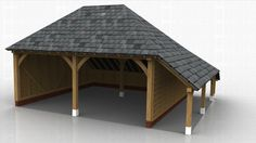 TWO BAY GARAGES : WS00068 Oak Framed Buildings, Timber Buildings, Carpentry Skills, Garages, Sheds, Craftsman, Porch, Traditional, Shed Houses