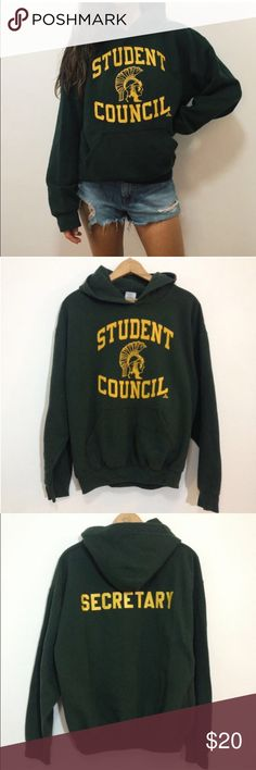 """Green High School Student  Hoodie Sweatshirt Green & Yellow High School Student Council Secretary Hoodie Sweatshirt  <<<<<<<<<<<<<<<<<<<<<<<<<<<<<<<<<<<<<<<<  *No Stains or holes, missing hoodie drawcord  Size Medium 25"""" long 23"""" across chest armpit to armpit  Part of the GYM CLASS DROPOUTS COLLECTION Gildan Tops Sweatshirts & Hoodies"""