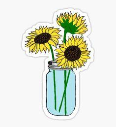 Pegatina sunflowers in blue jar