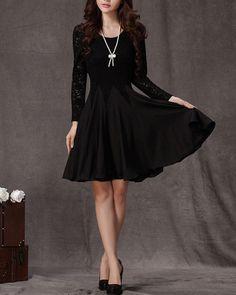 Long Sleeved Black Lace Chiffon Dress / Little Black Dress / Black Fit and Flare Dress on Etsy, $59.99