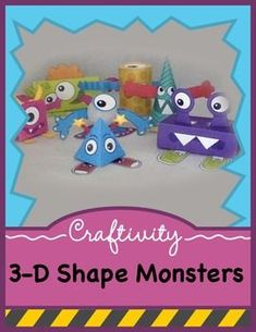 This fun activity will get kids excited about 3-D geometric shapes while incorporating art into the classroom. This product includes 7 different 3-D shape (monster) templates (both in color and as line art for the student to color) and 3 accompanying worksheets.