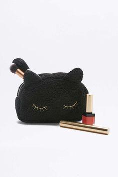 Black Fleece Cat Make-Up Bag