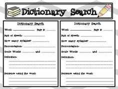 Dictionary Skills Search FREEBIE! from Chantal Gunn on TeachersNotebook.com -  (1 page)  - This Dictionary Skills Search allows students to use a dictionary to find words, the part of speech, the definition and the word in a sentence and more! Perfect morning work or addition to a writing folder for vocabulary building!