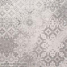 Papel Pintado Metaphore MTE_6556_90_90, imitación suelo hidráulico combinado en distintos tonos de grises y con efecto desgastado para aportar más realidad al diseño.