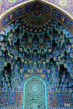 Islamic Mosques are thought to be a place of worship which is aligned on the axis in accordance with Mecca.  The interiors of some Mosque are unlike anything I have ever seen.  Mosaic designed walls and ceilings are absolutely breathtaking.