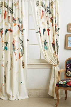 Nests & Nectar Curtain by Michelle Morin in Assorted, Curtains at Anthropologie Ikea Curtains, Bird Curtains, Home Curtains, Curtains Living, Velvet Curtains, Printed Curtains, Window Curtains, Colorful Curtains, Sheer Curtains