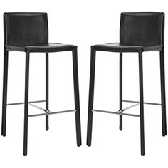 Safavieh Home Collection Jason Mid-Century Black Leather 30-inch Bar Stool (Set of 2)