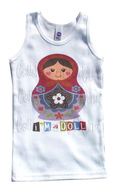 Vintage childrens tshirt, tank.... Im a Doll in Winter...Matryoshka Doll