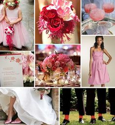 Pink and red wedding inspiration board
