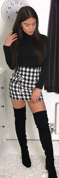 #winter #outfits black crew-neck long-sleeved top, black and black houndstooth skirt, and black knee high boots outfit. Pic by @a_b_b_5.