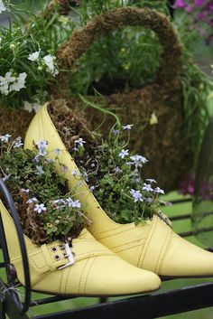 This is so cool that I am not sure where to Pin it! Rooted In Thyme: Vintage Shoes in the Garden... I wonder if I have any shoes to spare..